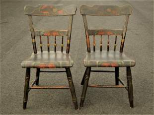 PAIR PAINT DECORATED HALF SPINDLE CHAIRS
