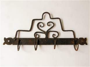 18TH C IRON WALL HANGER WITH HOOKS
