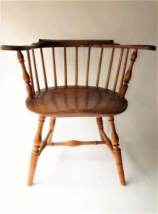 RARE 18TH C CT. LOWBACK WINDSOR ARMCHAIR