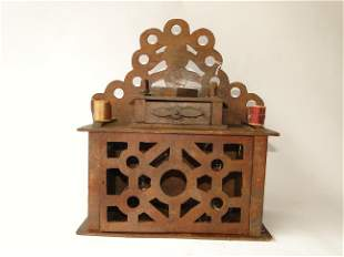FOLK ART SEWING CABINET WITH HEART