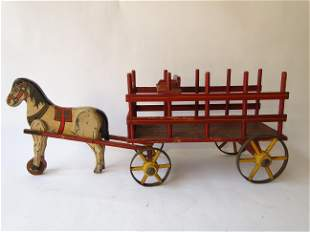FOLK ART PAINTED HORSE AND WAGON