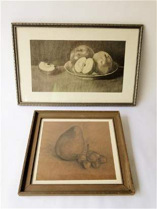 TWO FRUIT LITHOGRAPHS