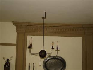 18TH C IRON CANDLE CHANDELIER