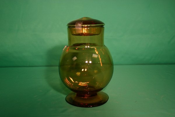 3: Blown amber glass jar with lid