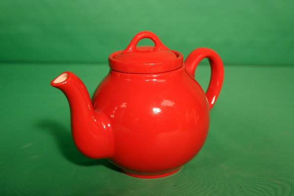 5: Hall red teapot with tea strainer insert