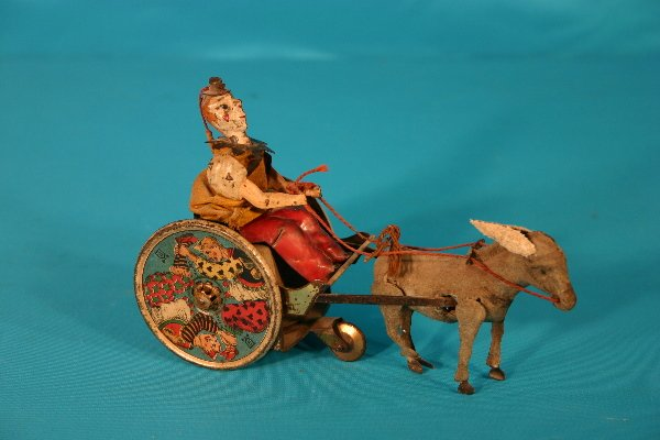 66: Lehmann Donkey and Clown cart friction action toy
