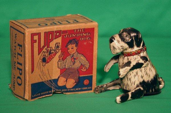 75: Louis Marx Flipo tin lithograph dog with box