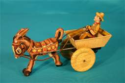 90: Marx key wind tin lithograph donkey and cart
