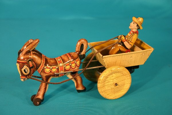 90: Marx key wind tin lithograph donkey and cart