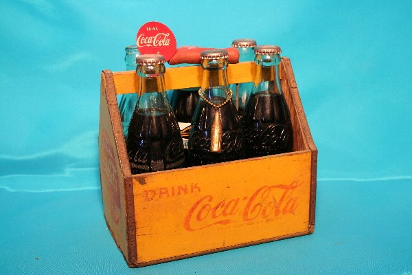"""178: Wood """"Drink Coca-Cola"""" Six (6) pack carrier"""