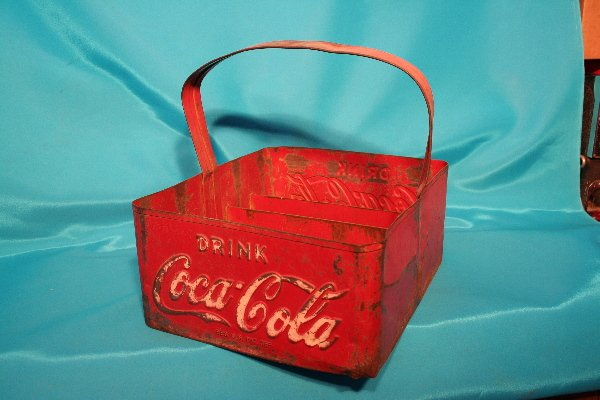 184: Red metal embossed Coca-Cola carrier