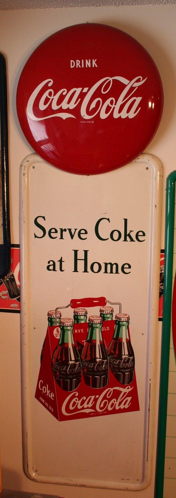 "188: Coke advertising sign ""Serve Coke at Home"""