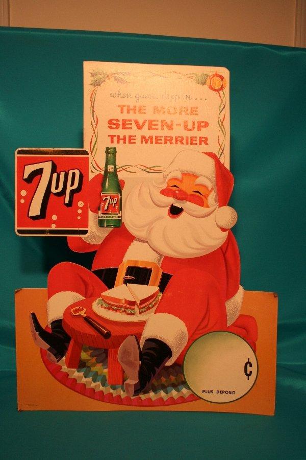 327: 7UP Santa cardboard advertising sign