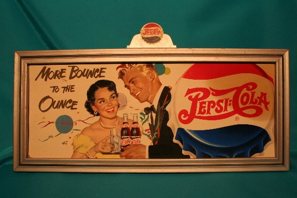 """329: Pepsi-Cola advertising sign """"More Bounce to the Ou"""