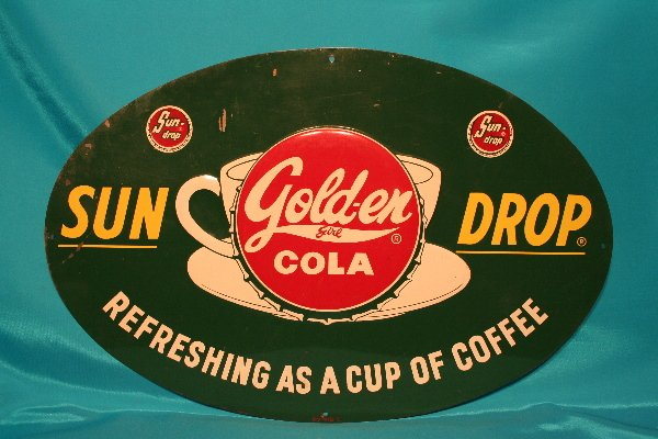 """331: Sun Drop oval advertising sign """"Refreshing as a Cu"""