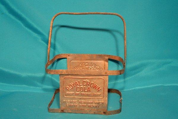 336: rare metal Royal Crown Cola bottle carrier