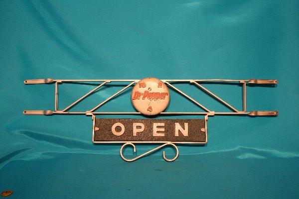 338: Dr Pepper screen door swivel Open/Closed metal pus
