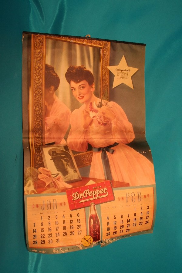339: 1945 Dr Pepper calendar with actress Kathryn Booth