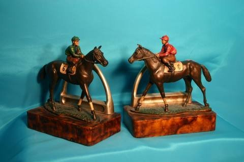 90: Pair; horse and jockey bookends