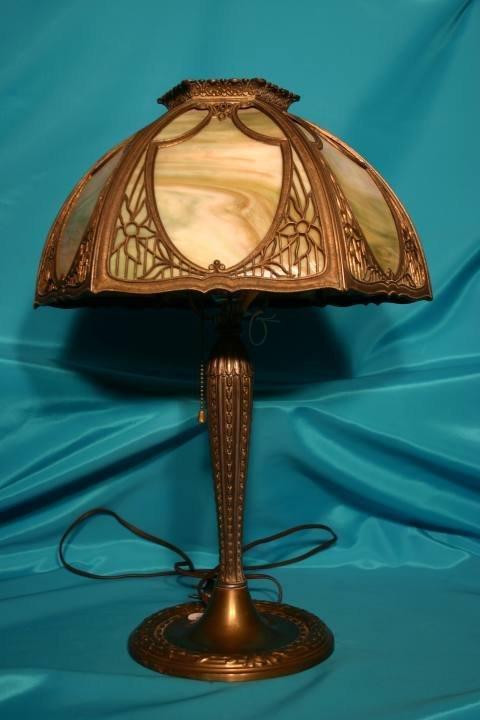221: Slag glass lamp