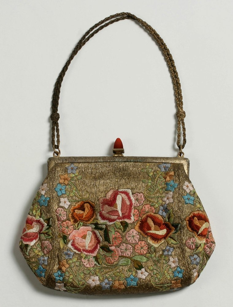 1920's French Evening Bag-Carnelian, Silver, Embroidery