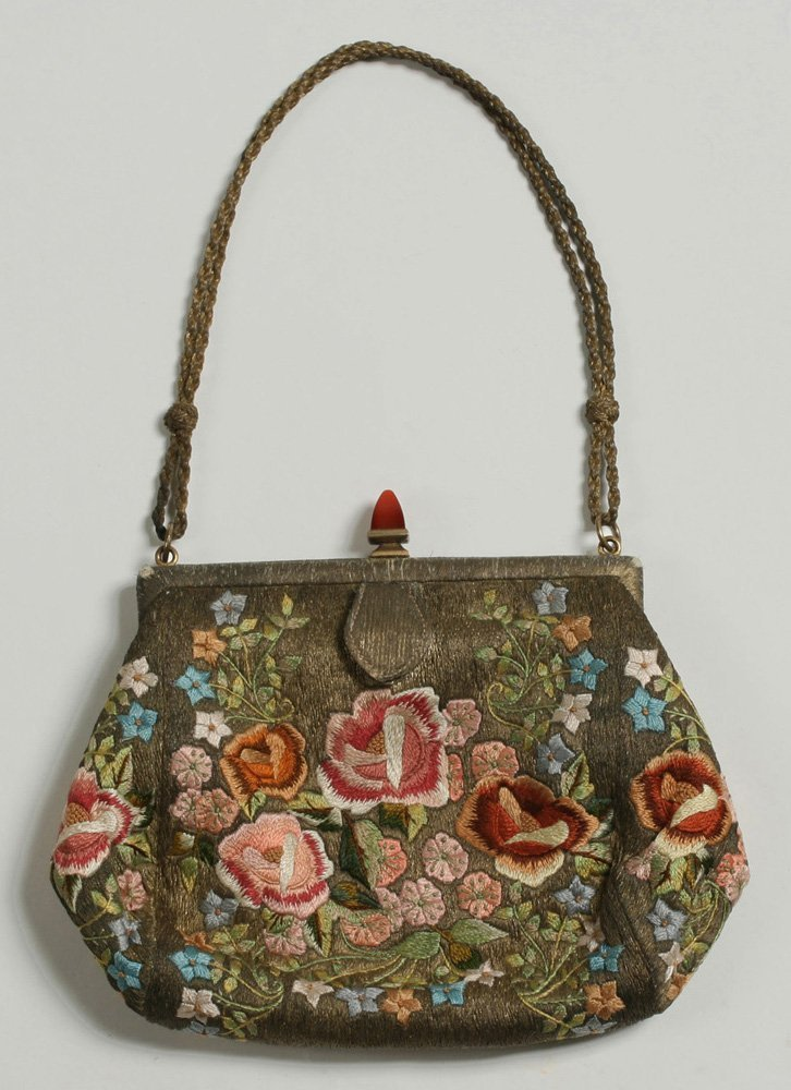 1920's French Evening Bag-Carnelian, Silver, Embroidery - 2