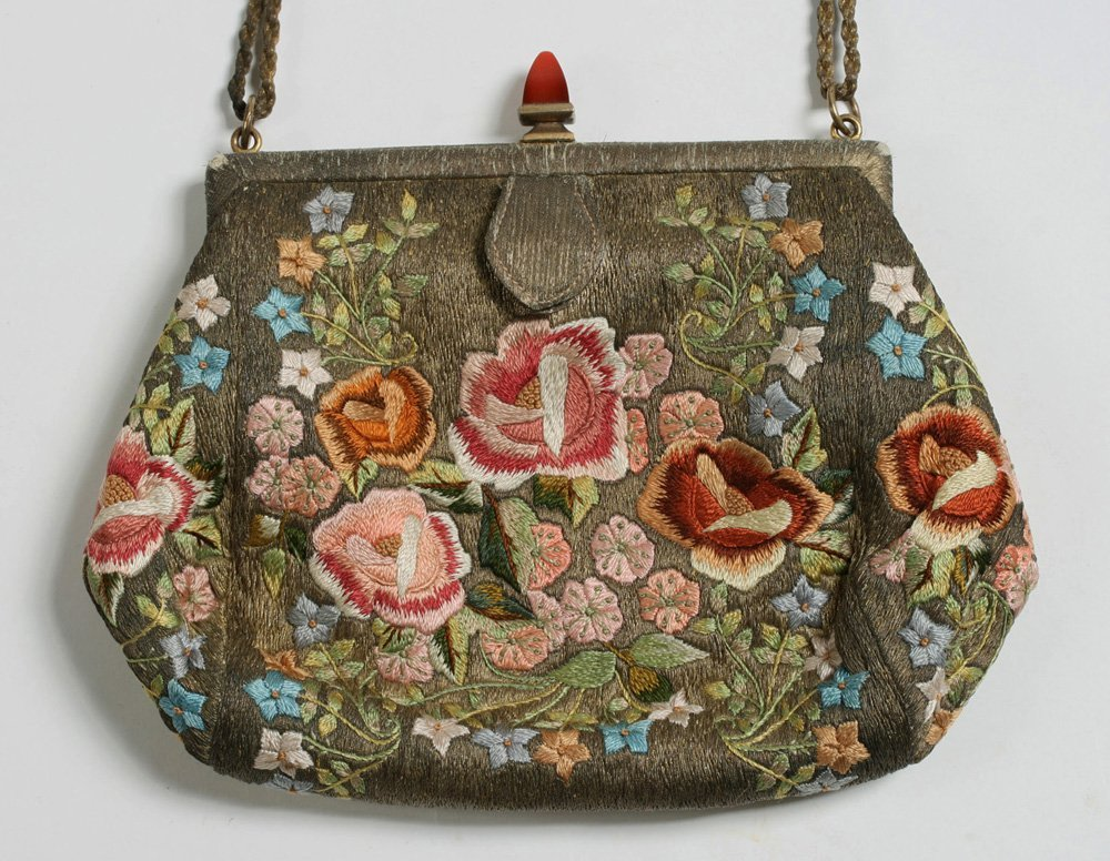 1920's French Evening Bag-Carnelian, Silver, Embroidery - 3