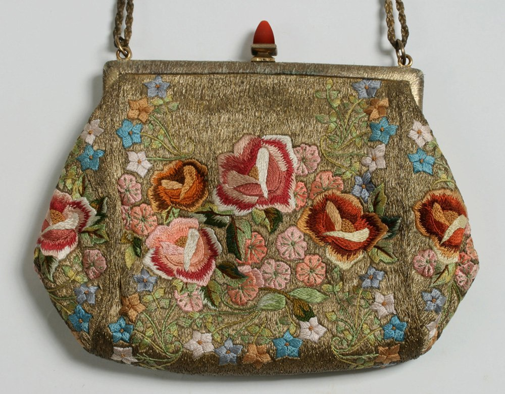 1920's French Evening Bag-Carnelian, Silver, Embroidery - 4