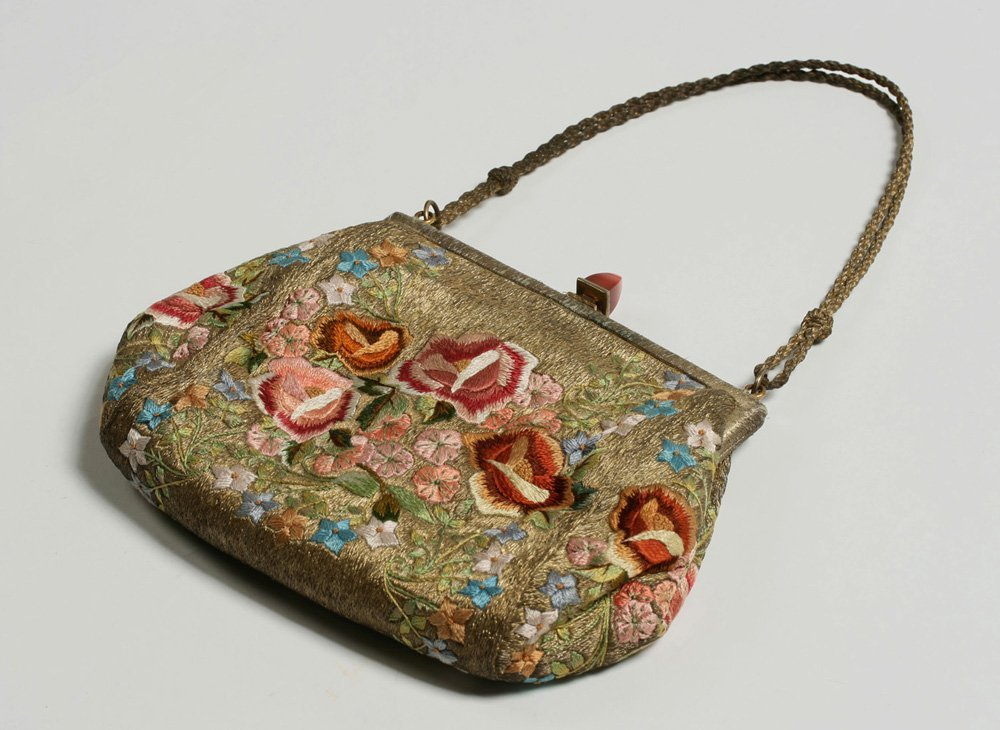 1920's French Evening Bag-Carnelian, Silver, Embroidery - 5