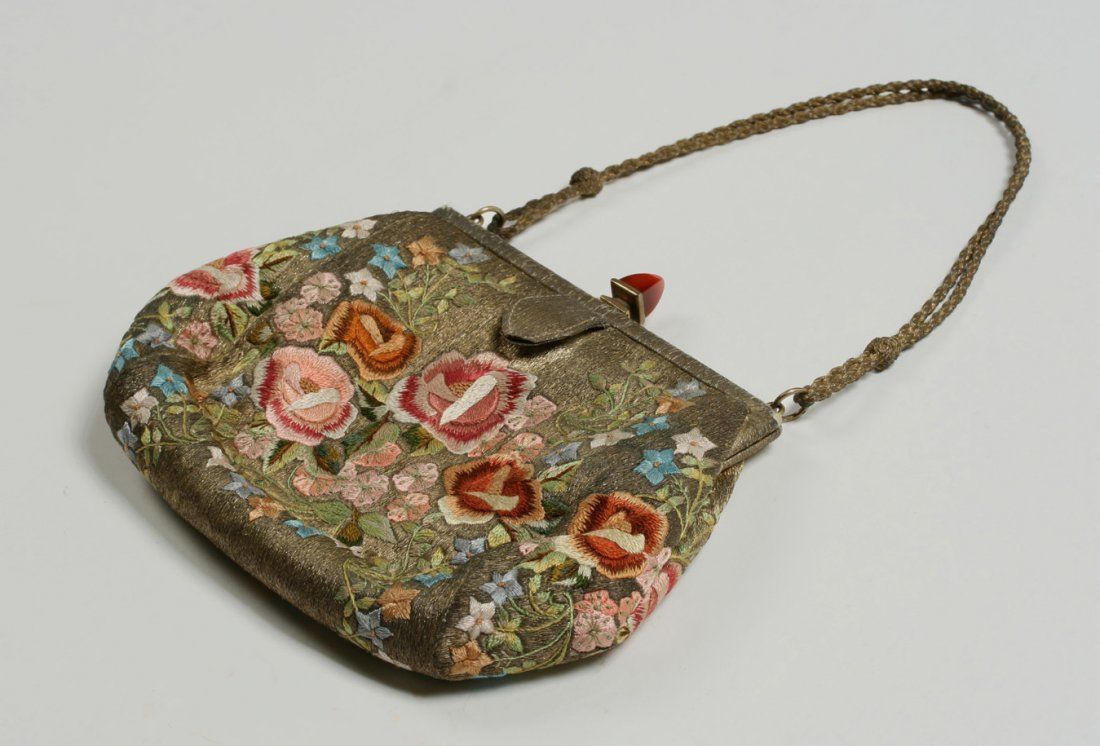 1920's French Evening Bag-Carnelian, Silver, Embroidery - 6