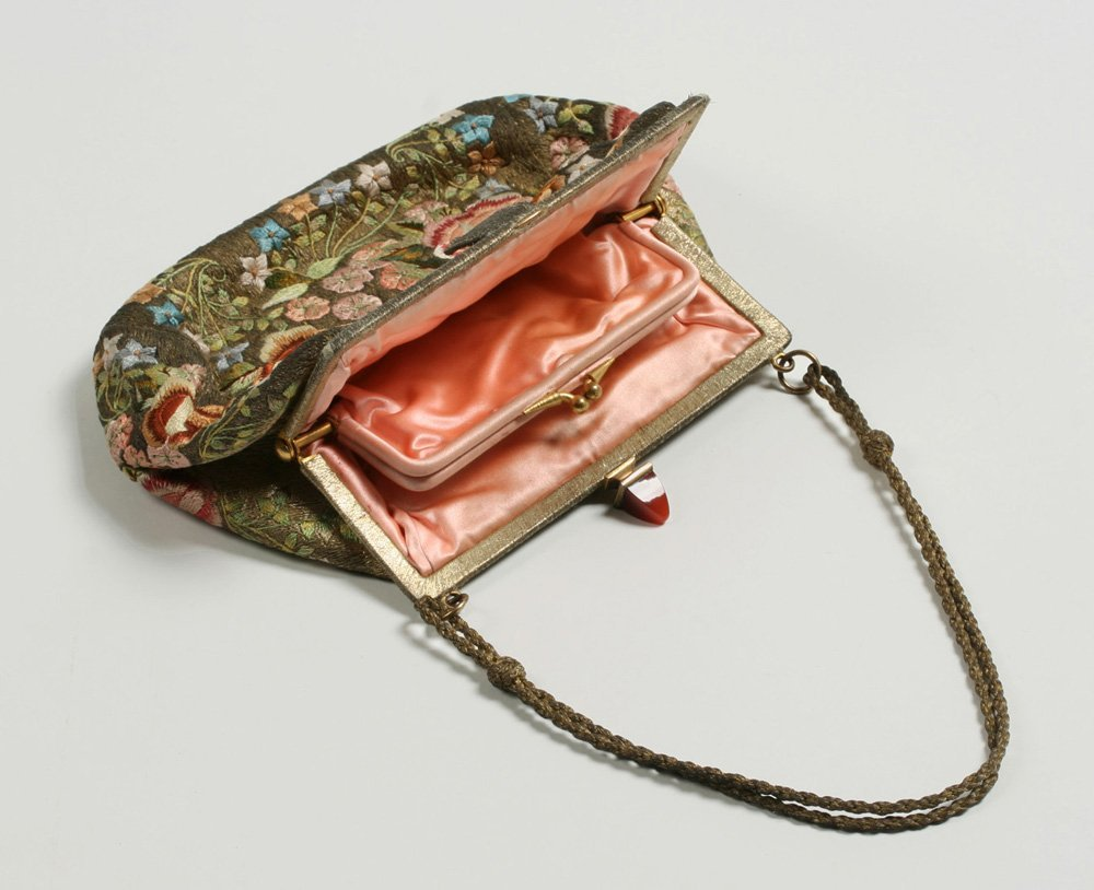 1920's French Evening Bag-Carnelian, Silver, Embroidery - 7