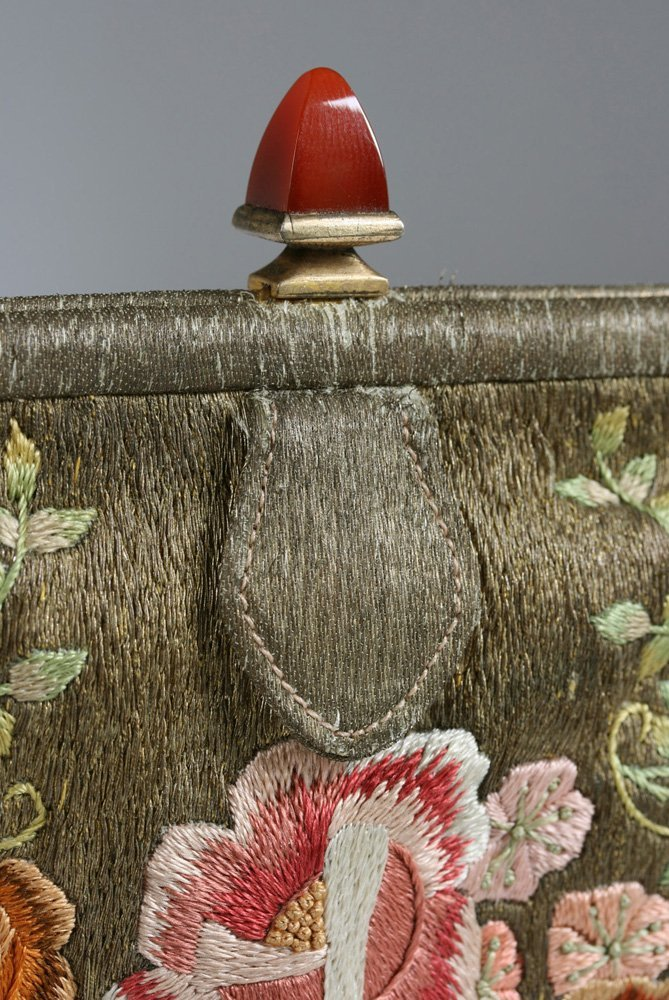 1920's French Evening Bag-Carnelian, Silver, Embroidery - 9