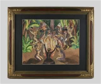 Joseph DeLaney - 1940 Harlem Renaissance Painting