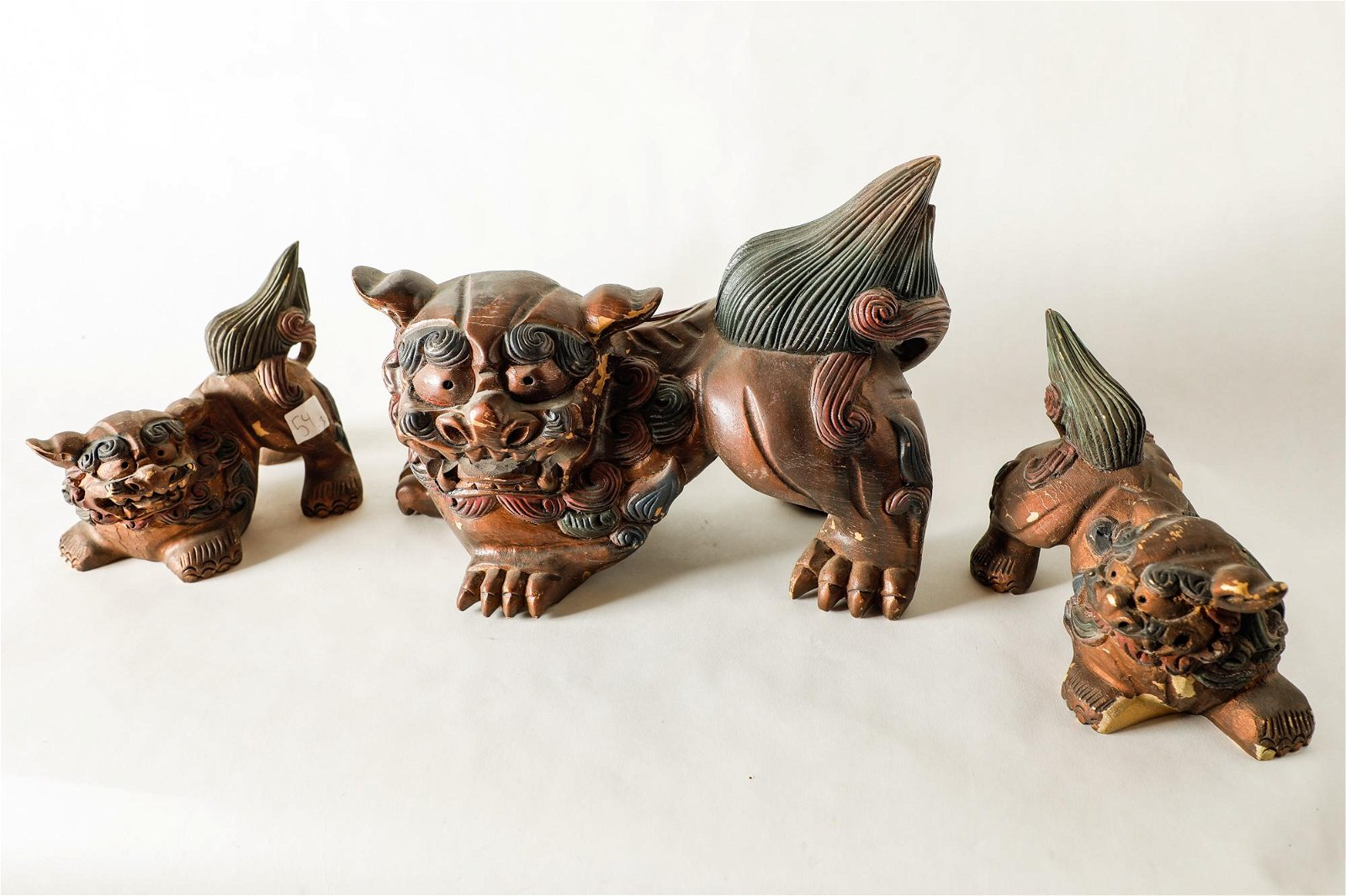 FOO DOG WOOD SCULPTURES