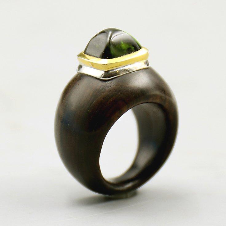 18k Yellow / White Gold Tourmaline Ring. - 2
