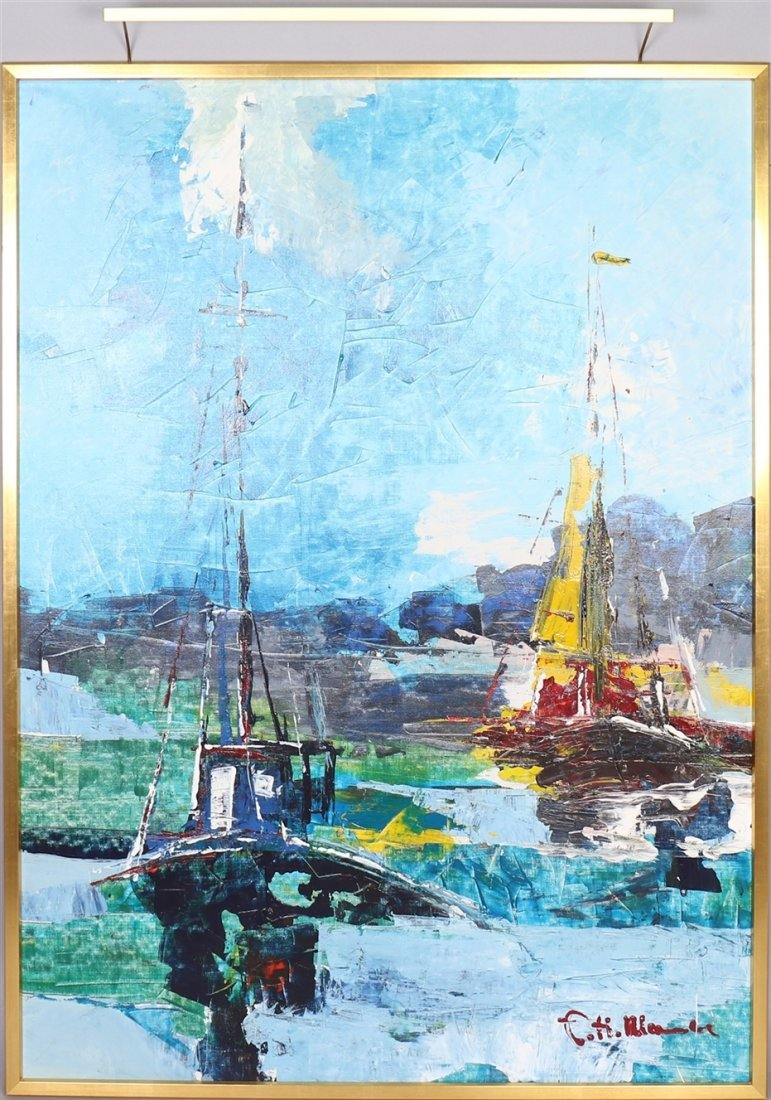 HELMUT MANTEL. Oil on canvas, sailboats, signed.
