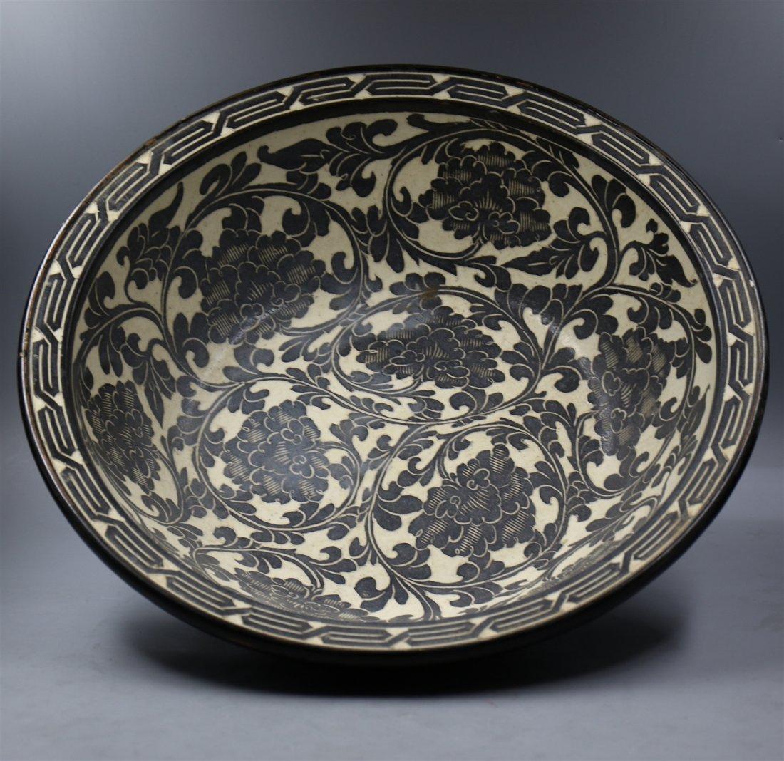 Chinese Black-White Porcelain Big Bowl