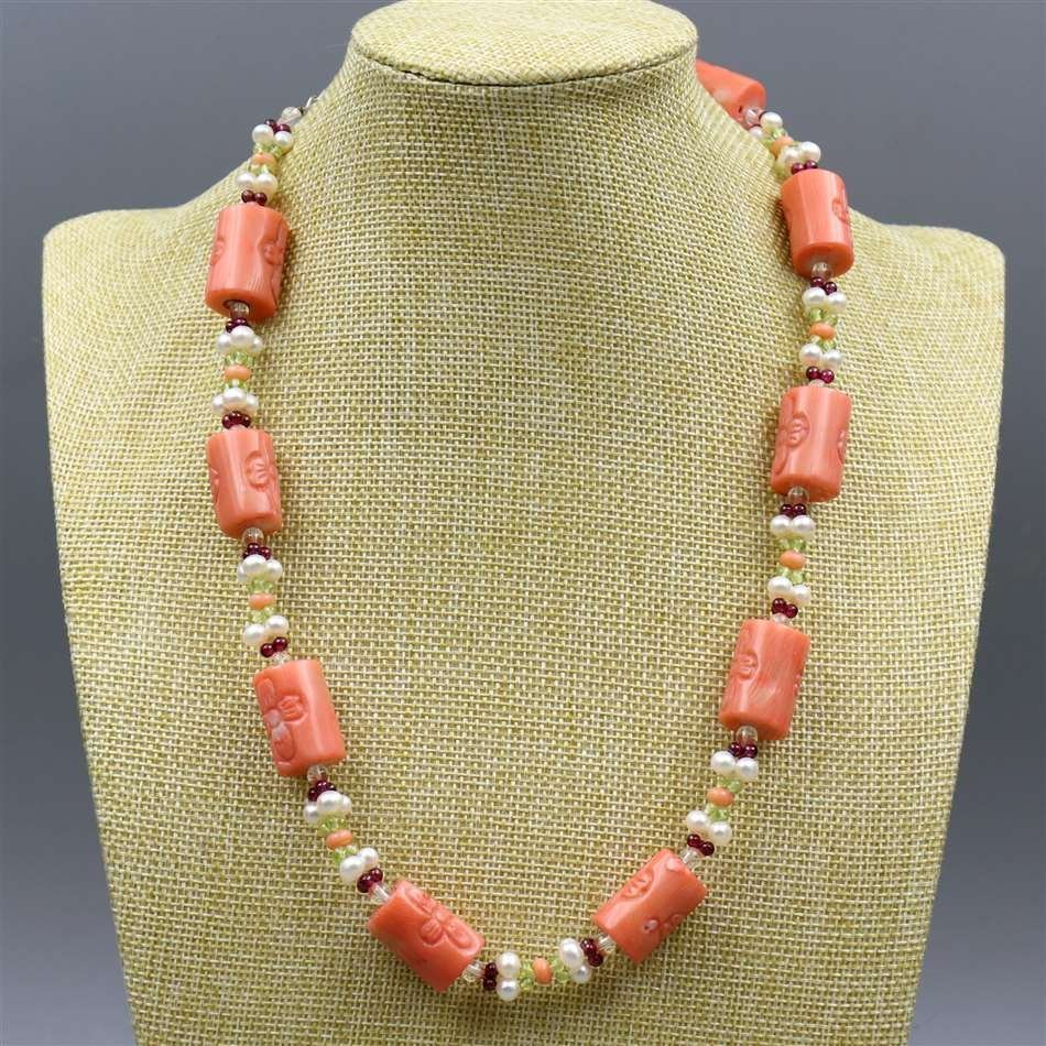 Natural Coral Necklace with 925 Silver Lock