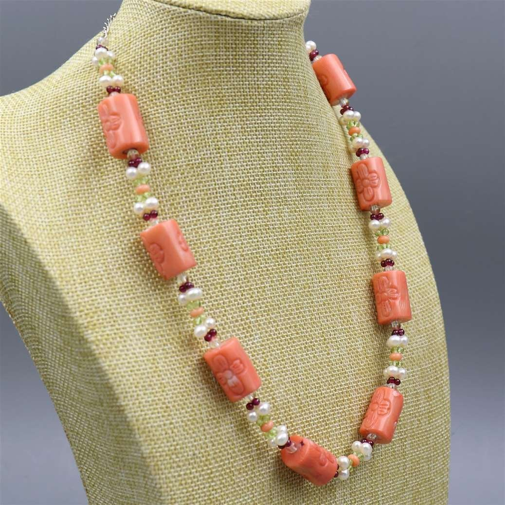 Natural Coral Necklace with 925 Silver Lock - 2