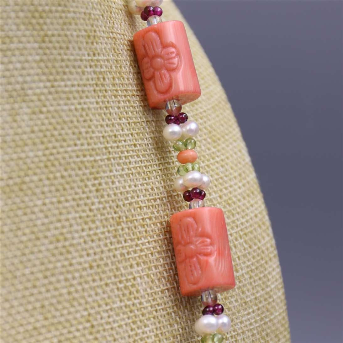 Natural Coral Necklace with 925 Silver Lock - 4