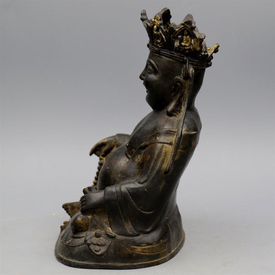 Chinese Bronze Buddha Figure. - 4