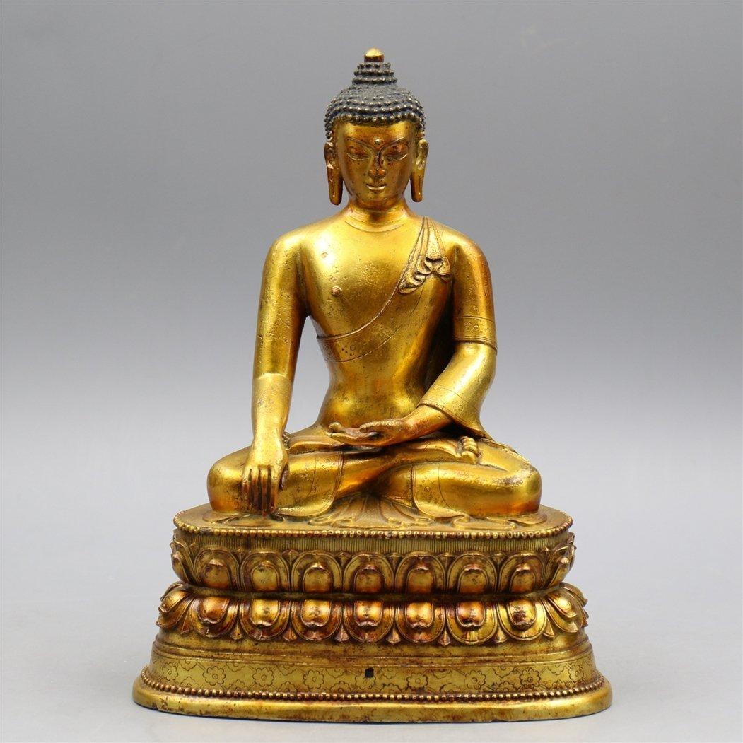 Chinese Gold-Plated Bronze Buddha.