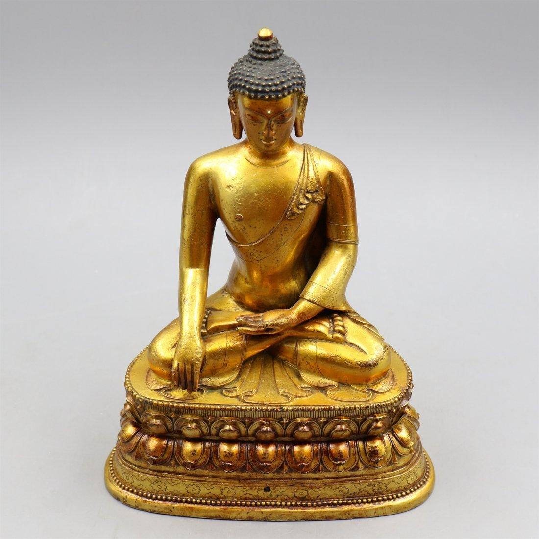 Chinese Gold-Plated Bronze Buddha. - 2