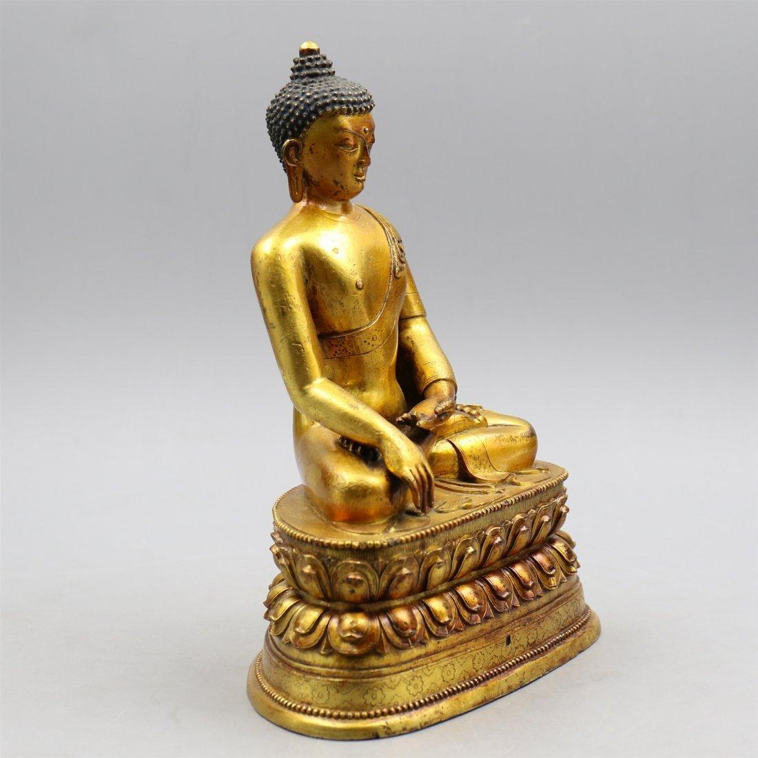 Chinese Gold-Plated Bronze Buddha. - 3