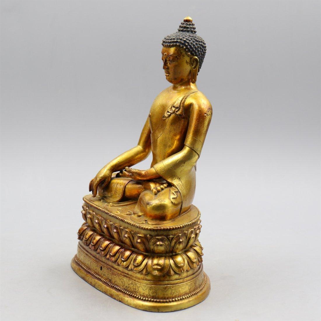 Chinese Gold-Plated Bronze Buddha. - 4