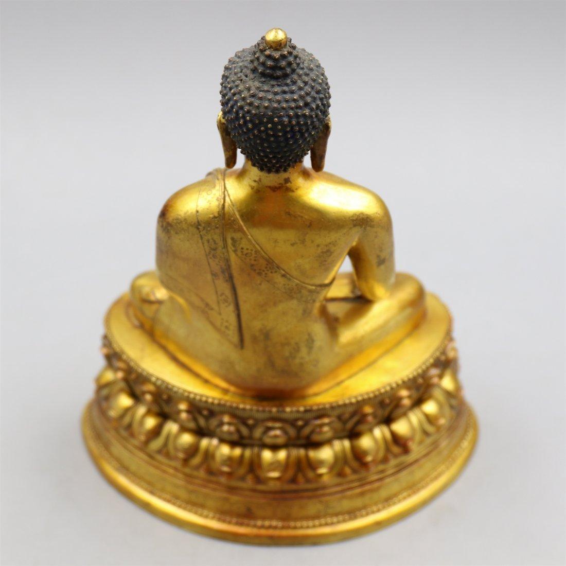 Chinese Gold-Plated Bronze Buddha. - 6