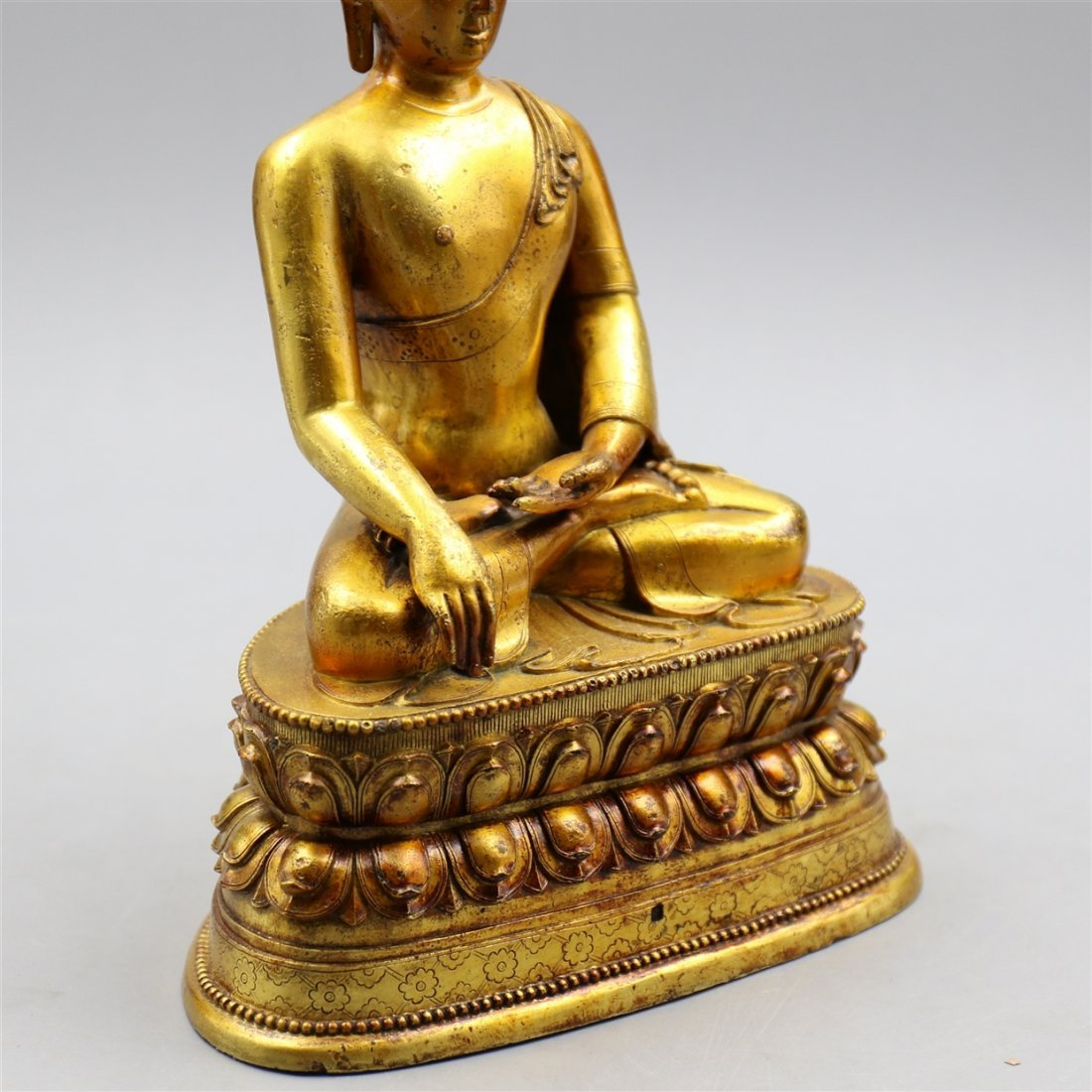 Chinese Gold-Plated Bronze Buddha. - 7