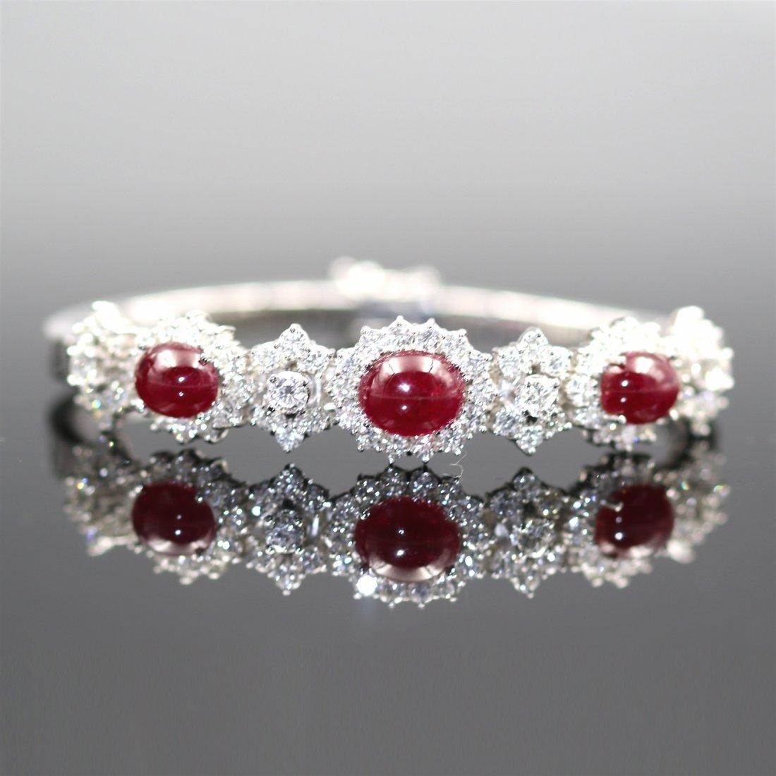 18K Gold Natural Ruby And Diamond Bracelet