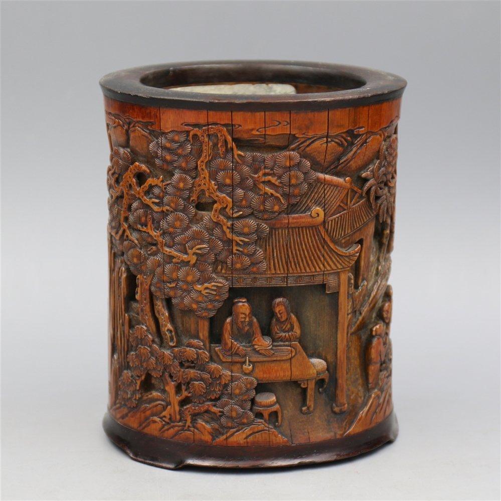 Chinese Bamboo Brush Pot.