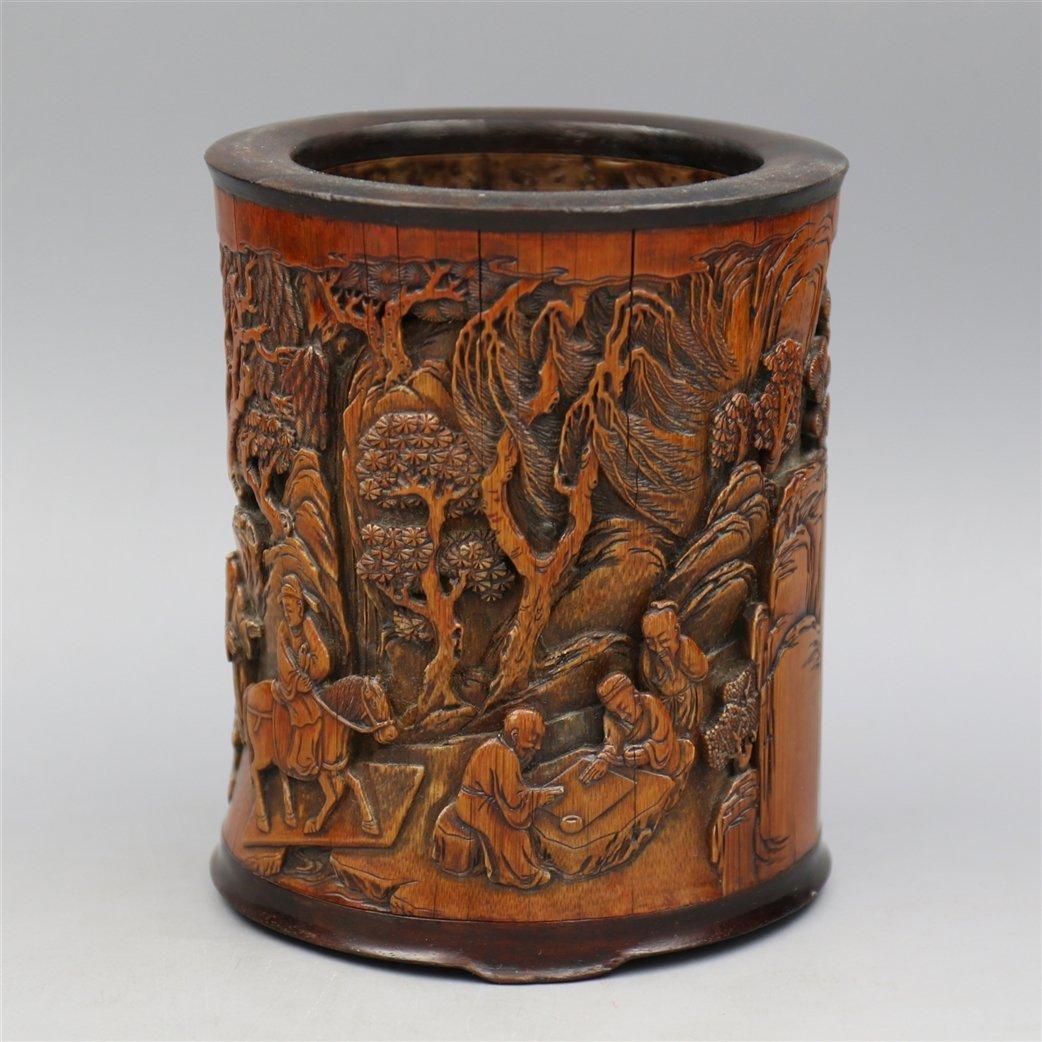 Chinese Bamboo Brush Pot. - 2
